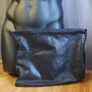 Mo851 Men's Leather Envelope Clutch Black